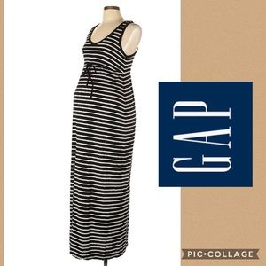 GAP black and white striped maternity dress M